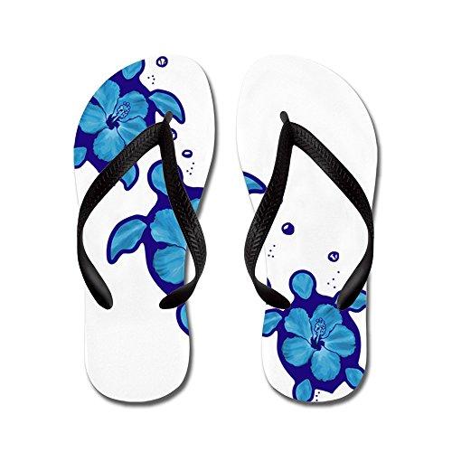 Cafepress Blue Hibiscus Honu Turtles - Infradito, Divertenti Sandali Infradito, Sandali Da Spiaggia Neri