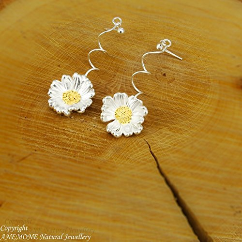 Handmade,Daisy Flower,Drop - Stud Earrings,Greek Nature Inspired,ANEMONE Natural - Blue Model Chanel