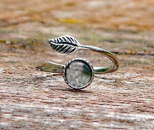 Recycled Vintage Clear Milk Bottle Sterling Silver Leaf Ring ()