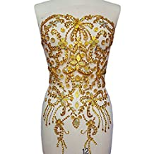 Noble Pure Handmade Big Beaded Crystal AB Color patches Sew on Rhinestones with Stones Sequins Beads Bridal Applique Designs Patches Sewing for DIY Wedding Dress Trim 38x56cm (Yellow)