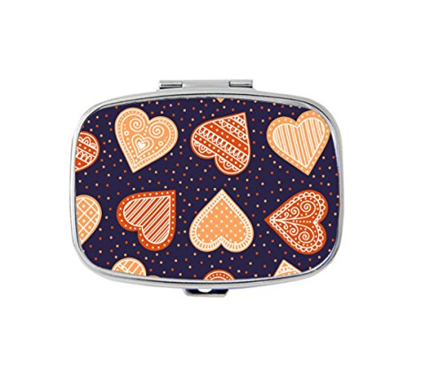 Custom Gingerbread - Udoosun Gingerbread Hearts Custom Pill Box Stainless Steel Medicine Tablet Organizer or Coin Purse