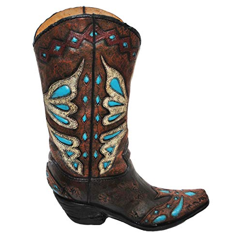 (MISC Realistic Cowboy Boot Flower Vase Decoration Diamond Accents, Womens Turquoise Brown Cowgirl Boots Country Western Theme Flowers Bouquet Holder, Texas Ranch Farm Decor Novelty Gift Teal, Resin)