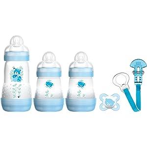 MAM Bienvenido al mundo fijó incluye Botellas, Chupete y Clip (Azul)