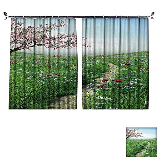 (DESPKON Environmental Protection Material Polyester Pathway with Cherry Blossom Tree for Living Room Window,Sun Insulation. W72 x L72)
