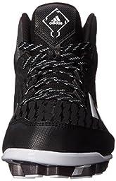 adidas Performance Poweralley 3 TPU Mid J Baseball Shoe (Little Kid/Big Kid), Black/White/Tech Grey/Metallic, 2.5 M US Little Kid