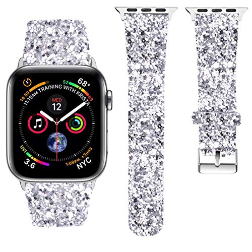 iiteeology Compatible with Apple Watch Series 4 Sparkle Bling Glitter Band 40mm Silver