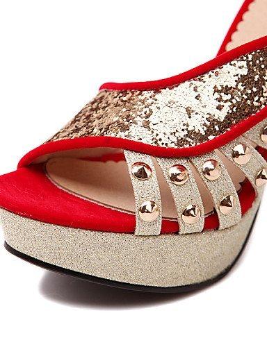 ShangYi Womens Shoes Heel Heels / Peep Toe / Platform Heels Outdoor / Dress / Casual Black / Red/78885-2 red