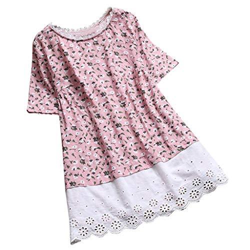 general3 Women Short Sleeve Tops Vintage Floral Print Lace O Neck Shirt Patchwork Hollow Blouse T-Shirts (Pink, Medium)