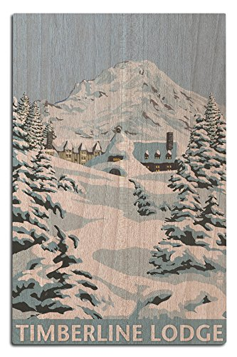 Mt. Hood, Oregon - Timberline Lodge Winter Scene (12x18 Wood Wall Sign, Wall Decor Ready to Hang) (Vintage Signs Ski)