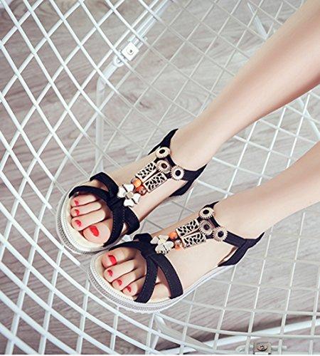 Scothen Las mujeres de las sandalias romanas Sandalias Sandalias de cuña tirón del verano zapatos planos del estilo de Bohemia diamantes de imitación Roman del tobillo Trenzado T-Correa sandalias Black