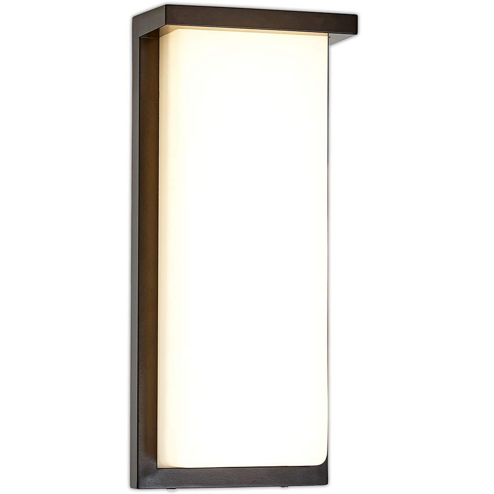 Flush MountModern Outdoor Wall Sconce   Squared 14'' Bright Clean Line Black Exterior Light   Brushed Nickel Finish with Frosted Lens   3000K LED Lighting with No Bulb Required