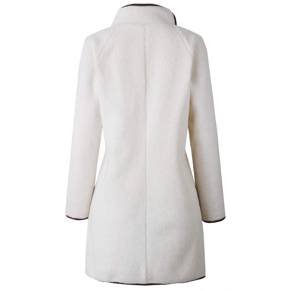 IZHH Damen Mantel Mode Frauen Faux SAMT Langarm Solid Top Dicker Outwear Mantel Jacke Mantel High Neck Zipper Knopf Langarm Bluse Jacke