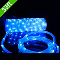 Meikee 33ft 100 LED Solar Rope Lights,Waterproof Outdoor Portable Solar String Lights with Light Sensor,Ideal for Decorations,Christmas,Gardens,Lawn,Patio,Parties.(Blue)