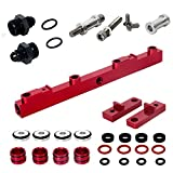 Heavy Duty Mounts Billet Aluminum Top Feed High Flow EFI Fuel Injector Rails Kit Suit for NISSAN SR20, Red Anodized