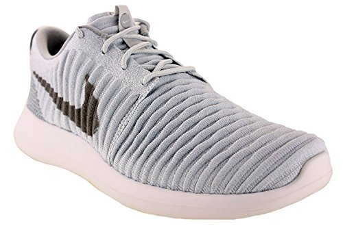 Nike Mens Roshe Two Flyknit Scarpe da corsa Pure Platinum / Wolf Grey / White 844833-011 Taglia 10,5