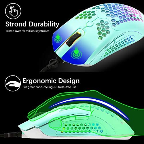 Gaming Keyboard and Mouse,3 in 1 Gaming Set,Blue LED Backlit Wired Gaming Keyboard,RGB Backlit 12000 DPI Lightweight Gaming Mouse with Honeycomb Shell,Large Mouse Pad for PC Game(Macaron Green) 51d9xYmiFnL