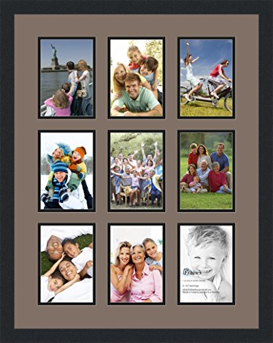 Finished Frame Set (Art to Frames Double-Multimat-1048-748/89-FRBW26079 Collage Photo Frame Double Mat with 9 - 5x7 Openings and Satin Black Frame)