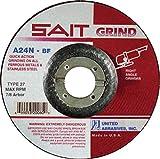 United Abrasives 3'' X 1/4'' X 3/8'' A24N 24 Grit Aluminum Oxide Type 27 Grinding Wheel-25 Each