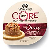 Wellness CORE Divine Duos Natural Grain Free Wet Cat Food - Beef Pate & Diced Chicken Liver - 2.8-Ounce Cup (Pack of 12)