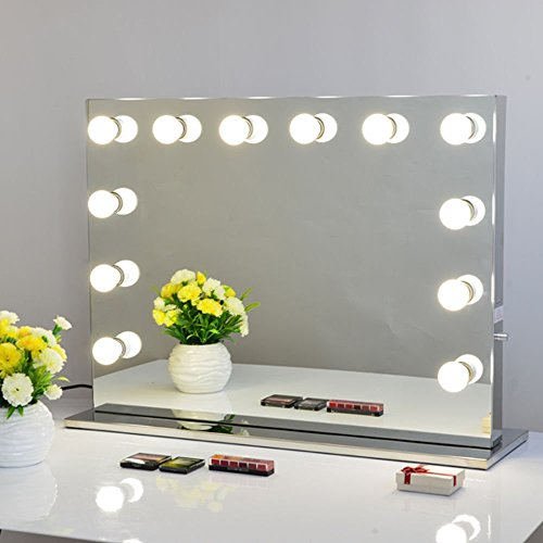 chende frameless hollywood lighted makeup vanity mirror light, makeup dressing table vanity set mirrors with dimmer, tabletop vanity led bulbs included, mother's day gift (8065, frameless)