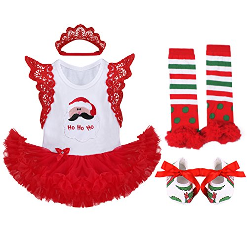 Baby Girls 1st Halloween Outfit My First Christmas Birthday Fancy Party Romper Dress Lace Flutter Sleeve Bodysuit Headband Leg Warmers Shoes Pumpkin Skull Santa Photo Prop Costume 4Pcs Set Red 3-6M -