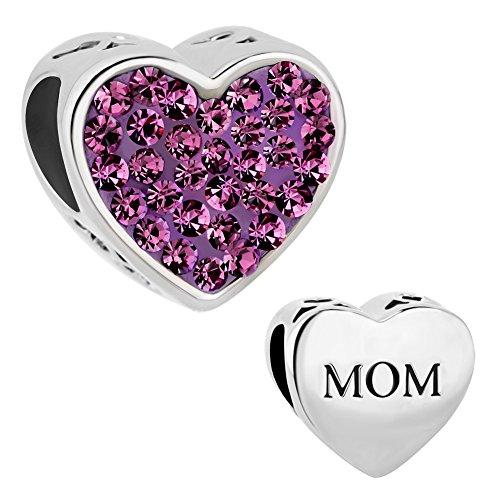 ReisJewelry Mom Charm Heart Love Crystal Charms Bead for Bracelet (Purple)