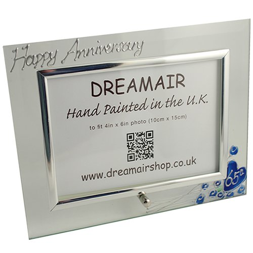 65th Wedding (Blue Sapphire) Anniversary Photo Frame (L) Flower