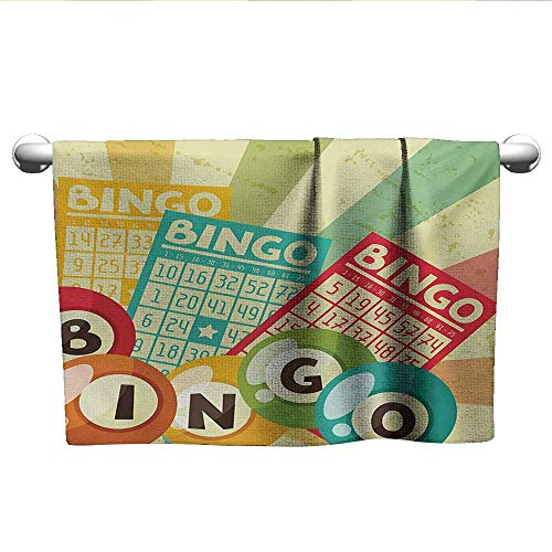 alisoso Vintage,Fitness Towels Bingo Game with Ball and Cards Pop Art Stylized Lottery Hobby Celebration Theme Washcloths Multicolor W 24