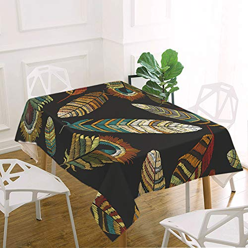 oFloral Feather Table Cloth Tribal Boho Peacock Bird Feathers Fly Plumages Decorative Rectangle Tablecloth Home Decor for Kitchen Dinning Tabletop Buffet Table Party Outdoor Picnic 52x70 Inch ()