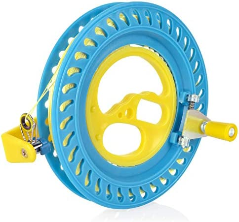 GUJIKE Kite Reel Winder 6.3inch(16cm) Kite Line 650 toes (200m) Kite Spool with Flying Line String Winding Reel Grip Wheel with Lock-Blue