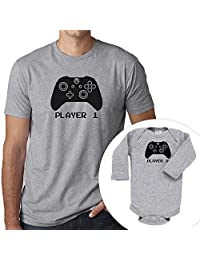 Matching Shirts Player 1 Player 2 Xbox Set Gray T-Shirt and Bodysuit Fathers Day