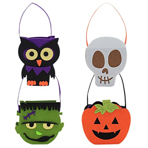 4 Pack Kid's Candy Basket Halloween Trick or Treat Non-woven Pumpink Bag Handbag Costume Children Toys