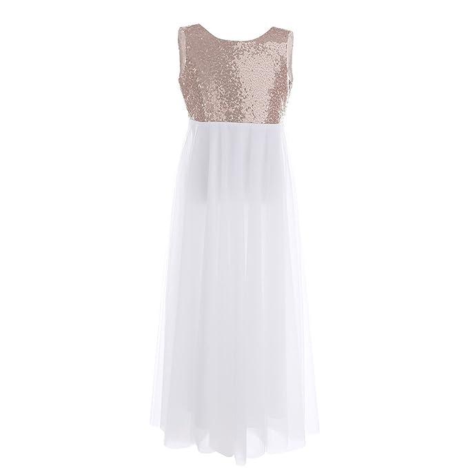 7f97d9fa086 YiZYiF Kids Junior Girls Sequined Tulle V-Back Dance Ball Wedding  Bridesmaid Party Princess Flower Girl Dress  Amazon.co.uk  Clothing