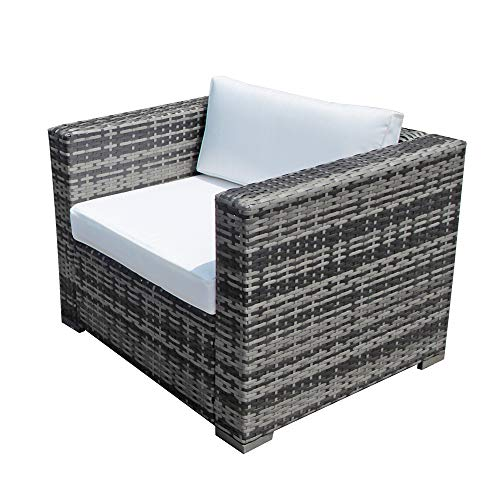 JOIVI Wicker Single Chair, Outdoor Furniture All Weather Wicker Armchair Sofa Thick White Cushions, 2 Throw Pillows, Steel Frame, Grey