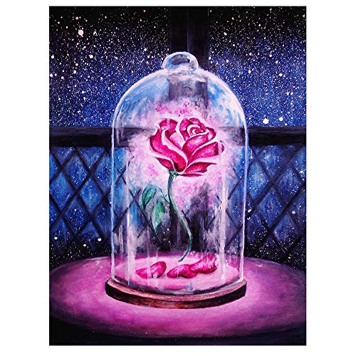 Painting by Number Kits, Crystal Rhinestone Diamond Embroidery Paintings Pictures Arts Craft for Home Wall Decor, Full Drill, Rose(14X16inch/35X40CM) ()