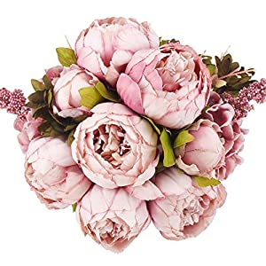Flojery Vintage Artificial Peony Silk Flowers Bouqet for Home Wedding Party Decoration 5