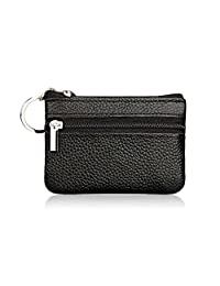 MuLier Genuine Leatherr Zipper Pocket Change Coin Purse Keychain Key Ring Case Black