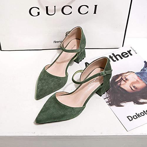 HRCxue Pumps Einknopf-Schnalle mit einzelnen Schuhen Frau mit Spitzen Spitzen Spitzen Damenschuhen flachen Mund Wilde High Heels Frauen, 38, grün 0ba70f