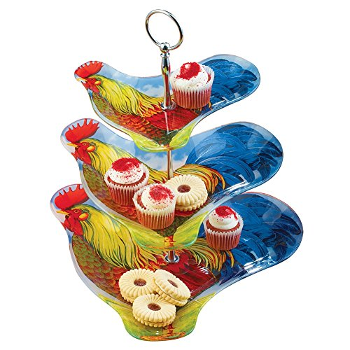 3-Tier Colorful Country Farmhouse Rooster Glass Serving Tray for Snacks, Desserts, Appetizers and (Rooster Tray Set)