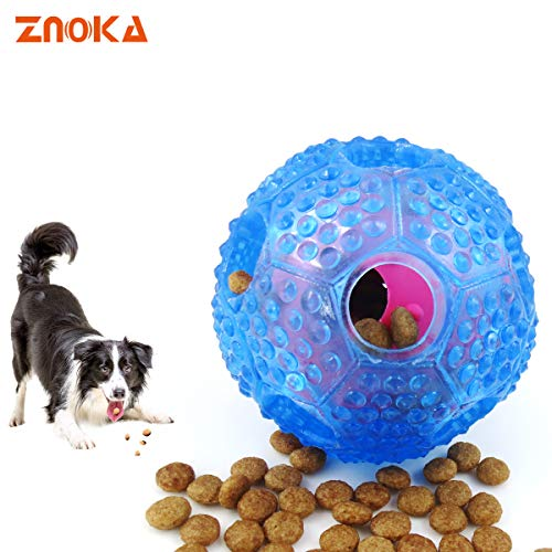ZNOKA Interactive Dog Treat Dispensing Ball, Interactive Food Dispenser Durable Dog Chew Toy Ball, Durable Resistant Nontoxic Rubber Dog Toy Ball