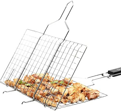 Yanshangqi BBQ Carrello Pieghevole Portatile Griglia for Barbecue Estraibile Manico in Legno 62 X 35 CM