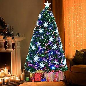 Goplus 6FT Artificial Christmas Tree Pre-Lit Fiber Optic Premium Spruce Hinged Tree W/UL Certified Multicolored LED Lights & Metal Stand 56