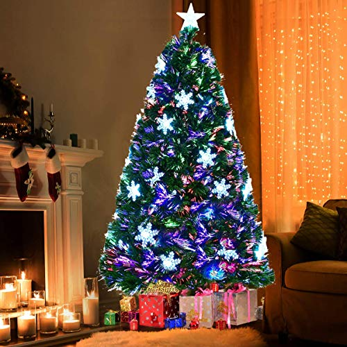 6FT Artificial Christmas Tree Pre-Lit Fiber Optic With ...