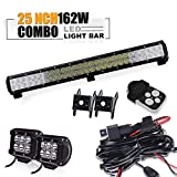 """UNI FILTER 25"""" 162W Adjustable Off-Road LED Work Light Bar with 4 inch LED Pods Driving Lamp Flood Spot Combo Beam with 1 set 3 Leads Wiring Harness with Remote Control Kit For 4x4-Jeep Cabin/UTE Off-road SUV"""