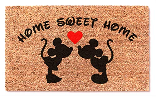 Holiday Personalized Mickey Mouse (Mickey Mouse Kissing Disney Home Sweet Home Door Mat Best Easy Clean Doormat New House - Wedding Gift)