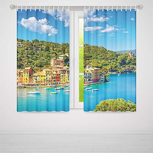 Decor Collection,Italy,for Bedroom Living Dining Room Kids Youth Room,Portofino Landmark Aerial Panoramic View Village and Yacht Little Bay Harbor Decorative2 Panel Set,103W X 96L Inches