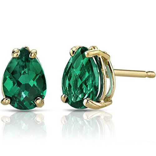 14K Yellow Gold Pear Shape 1.25 Carats Created Emerald Stud Earrings ()