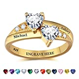 Lam Hub Fong Personalized Gold Engagement Rings for Women Birthstone Rings Promise Ring for Her Customized Couples Rings Wedding Rings (5)