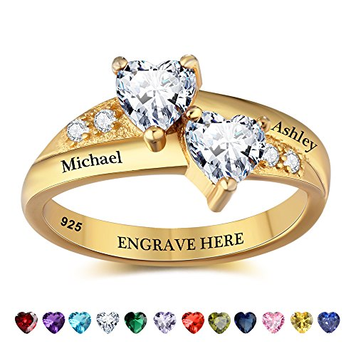 Lam Hub Fong Personalized Gold Engagement Rings for Women Birthstone Rings Promise Ring For Her Customized Couples Rings Wedding Rings (7) by Lam Hub Fong
