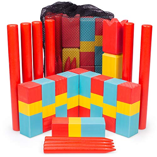 Kubb for Kids | Safe Wooden Lawn Game for Kids | Unique, Traditional Family Game | Premium Wooden Tossing Game Set for Outdoor Birthday Party & Yard Activities | Includes Free Portable Mesh Carry Bag ()